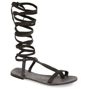 Free People Lace Up Sandals Gladiator Leather